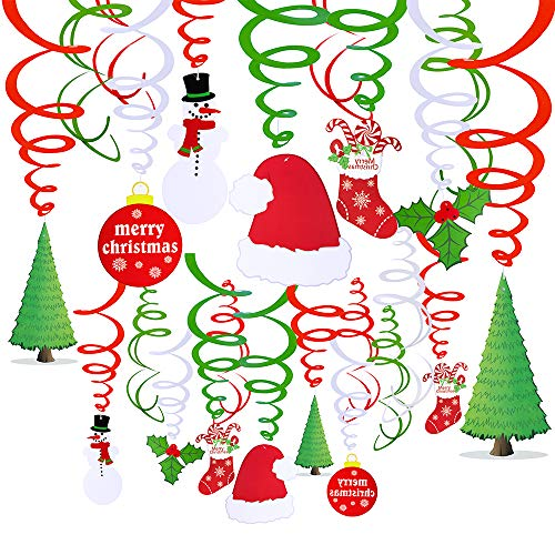 Review 30 Pcs Christmas Hanging Swirl Decorations Party Swirls Foil Hanging Ceiling Décor Swirl Str...