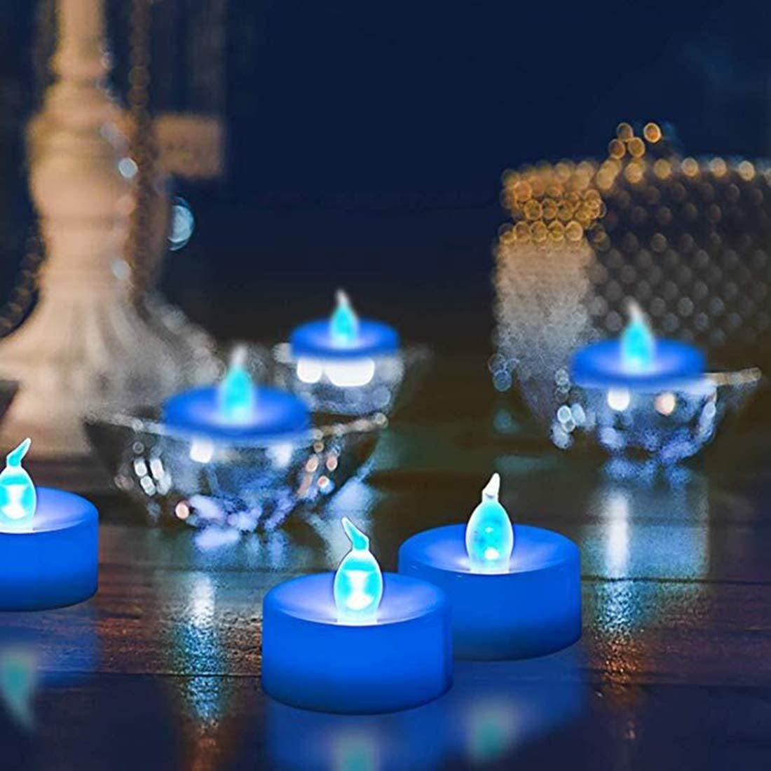 Flameless LED Tealight,Set of 36,Realistic Blue Flickering LED Candle with Timer,Battery Operated Flickering LED Candle for Halloween,Wedding,Christmas,Table Dinning,Home Decor
