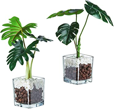 Set of 3 Artificial Plants Faux Tabletop Greenery w// Clear Glass Pots