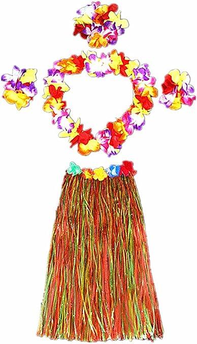 Falda elástica de hierba hawaiana para adulto con disfraz de flor ...