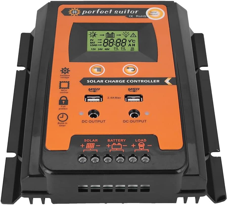 30A MPPT Solar Charge Controller 12v//24v 30A//50A//70A Solar Panel Battery Regulator Charge Controller Dual USB LCD Display Solar Power Battery Charger Controller