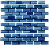 Caribbean Blue Watercolor Glass Tile Blend 1'' x 2''