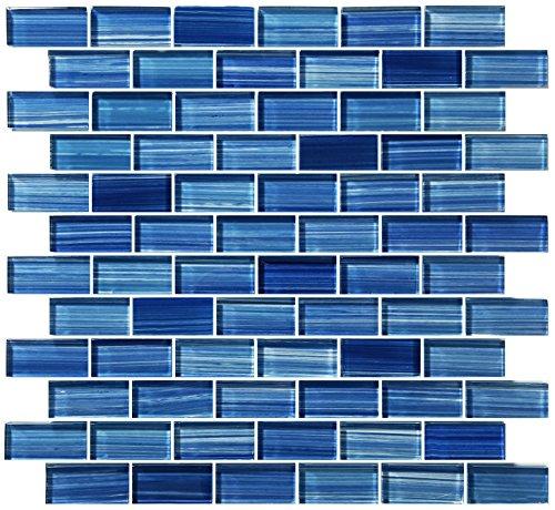 (Caribbean Blue Watercolor Glass Tile Blend 1