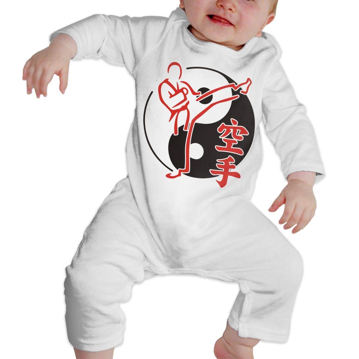 Yin Yang Asian Martial Arts Karate Fighter Toddler Baby Girls Essential Basic Romper Jumpsuit Bodysuit
