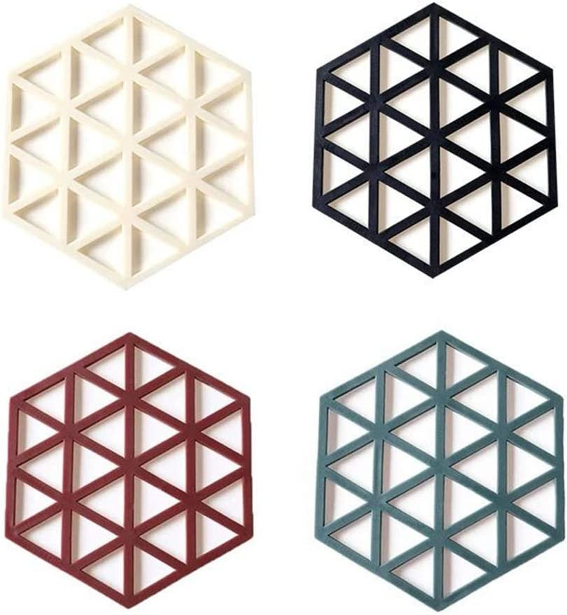 Swiftrans 4PCS Silicone Trivet Mats Hot Pads Hexagon Heat Resistant Pot Holder Placemat Non-Slip Bowl Mats Dish Mats Drink Coasters Counter Mat Hot Plate for Kitchen Cooking Dining Table Decoration