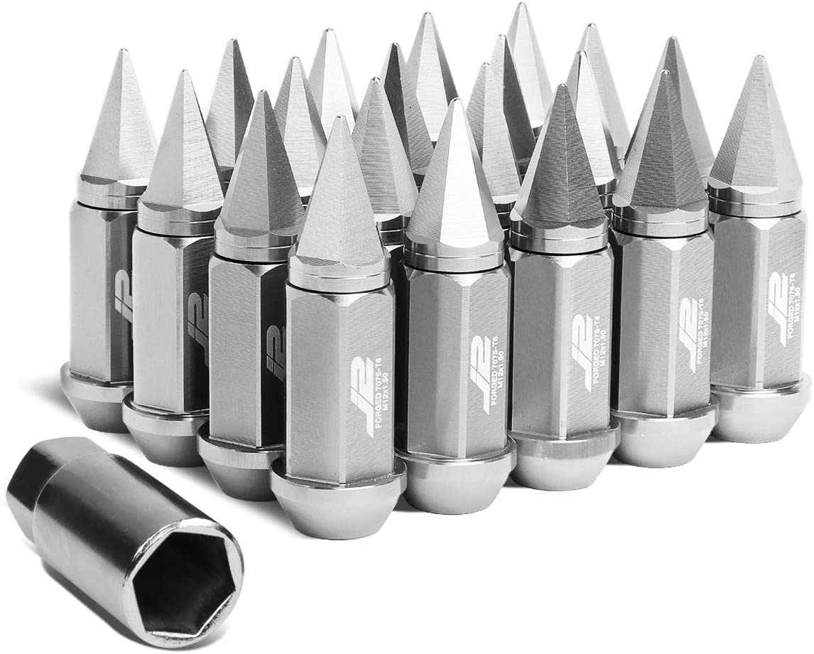 J2 Engineering 7075-T6 Replacement forged Aluminum M12 x 1.5 75mm 20Pcs Spiky Cap Lug Nut + Adapter (Silver)