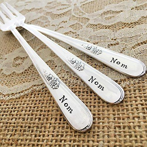 Set of 3 mini forks: nom, nom, nom. Vintage hand stamped set.