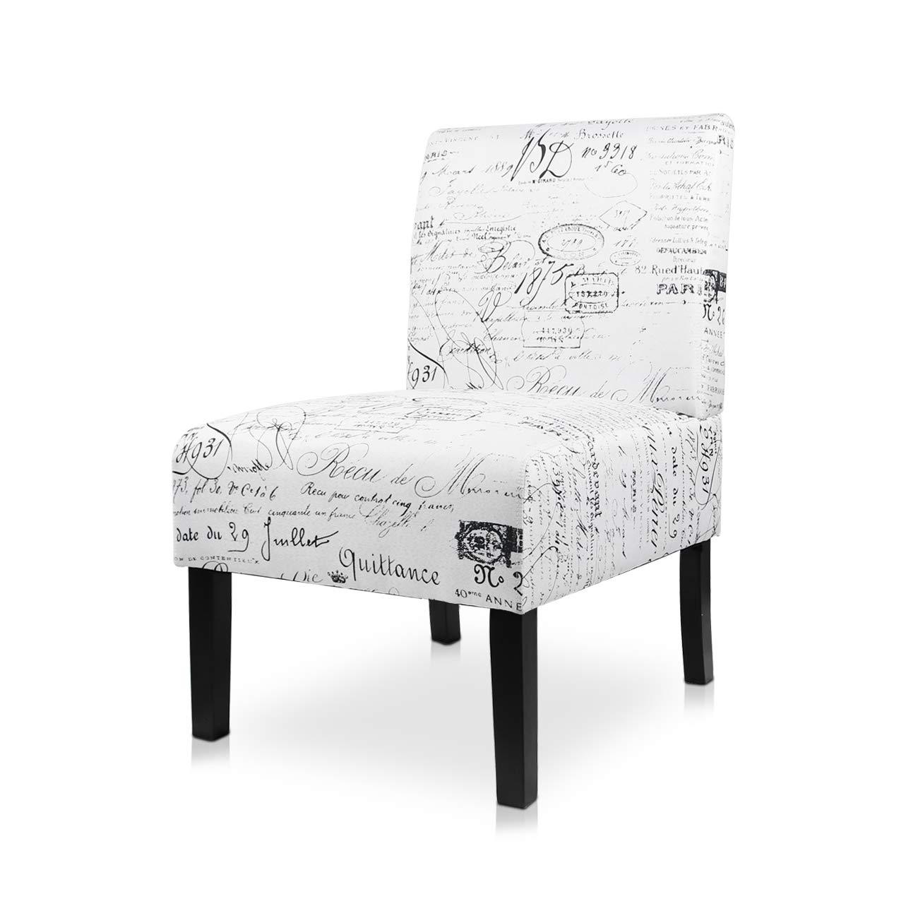 AODAILIHB Armless Accent Chair Modern Fabric Printing Leisure Chair Single Sofa Deco Living Room Bedroom Office Armless Chair (Letter 1Pcs)