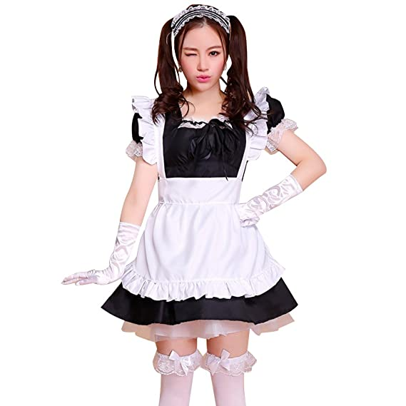 Amazon.com: LSERVER Womens Cosplay French Apron Maid Fancy ...