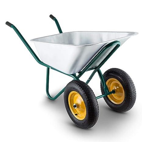 GreenHand Cart - Carrito de jardín con Ruedas y Ruedas (Acero, tamaño Grande)
