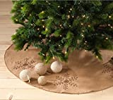 Fennco Styles Jeweled Snowflake Burlap Design Holiday Decor Natural Chirstmas Tree Skirt (53'' Tree Skirt)