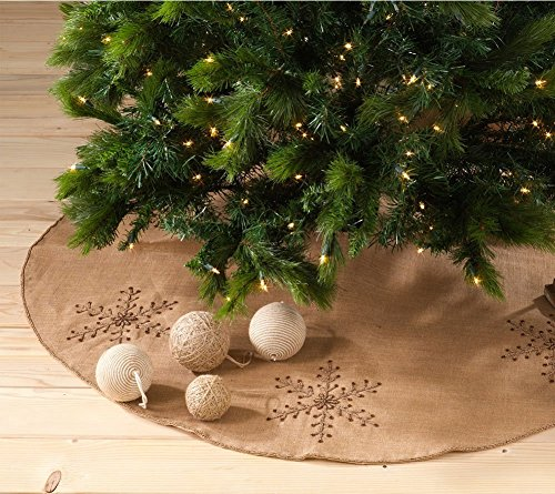 Fennco Styles Jeweled Snowflake Burlap Design Holiday Decor Natural Chirstmas Tree Skirt (53