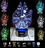 UbiKORT 3D Illusion Night Light Millennium Falcon Table Lamp GREAT Birthday Gift for Kids Bedroom Decor Star Wars Fans [UPGRADE VERSION]