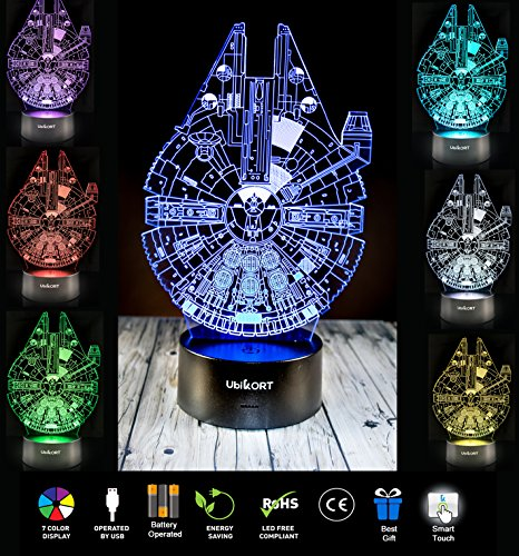 UBIKORT 3D Illusion Night Light Millennium Falcon Table Lamp GREAT Birthday Gift for Kids Bedroom Decor Star Wars Fans [UPGRADE VERSION]