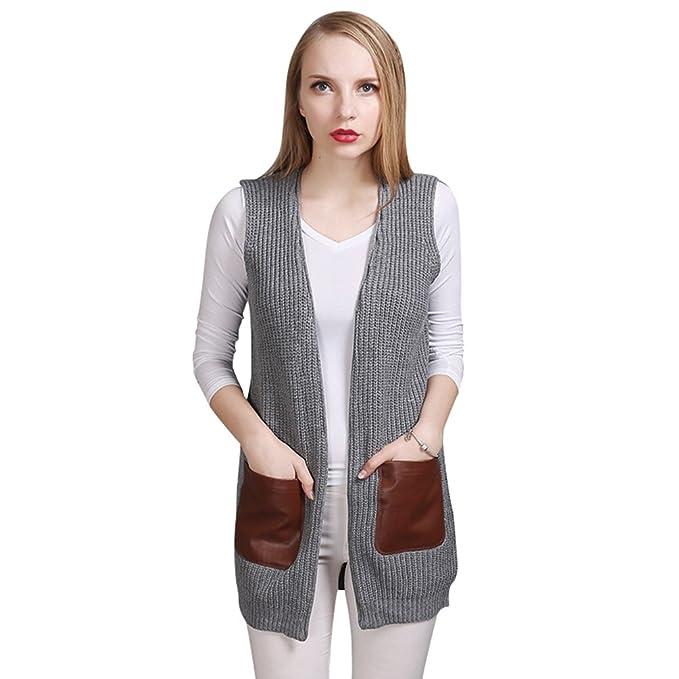 Maglieria Gilet Donna con Cappuccio e Tasche Moda Cardigan