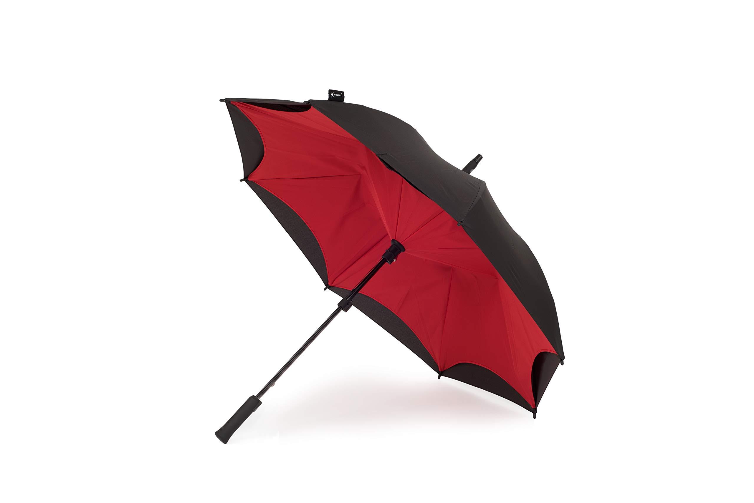 Orginal Kazbrella Reverse Folding Inverted Umbrella Double Layer Wind Proof UV Proof (Red + Black (straight handle)) by KAZBRELLA