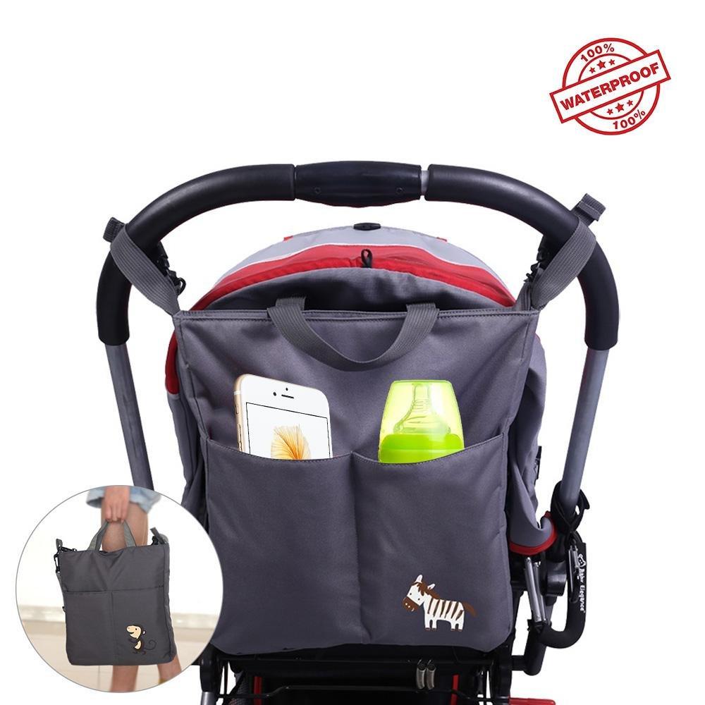 Aolvo Buggy Caddy Organizer, zum Aufhängen Windel Caddy Veranstalter, große Kapazität Wasserdicht Baby Travel Tote Storage Regenschirm/Flasche/Kleidung/Pad für Damen und Herren Black Monkey