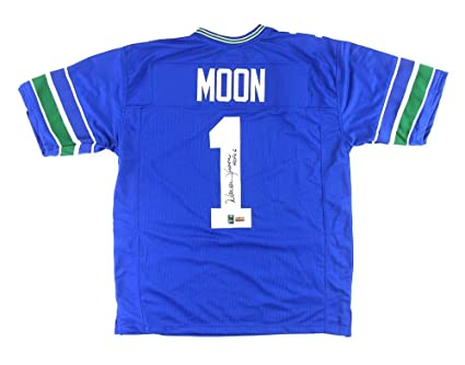 Warren Moon Signed Seattle Throwback Blue Custom Jersey With quot HOF  06 quot  Inscription - Autographed 2f465c77b