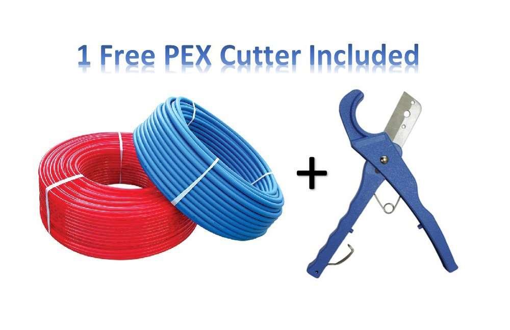 PEX Tubing PEX For Flow 1/2 inch by 300 feet For Potable Water, Red & Blue with Free PEX Cutter