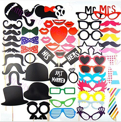 58pcs Colorful Photo Booth Props, Panel Hen Party Dress-up Accessories for Wedding Baby Birthday Anniversary Newborn Party Shower