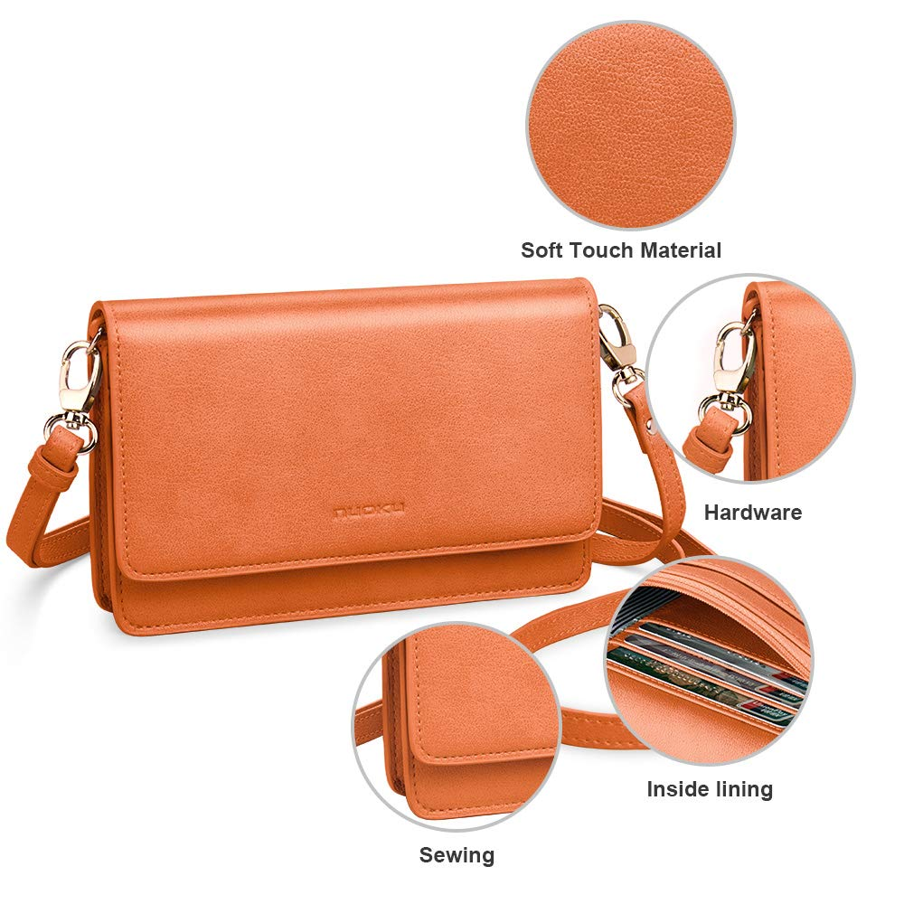 nuoku Women Small Crossbody Bag Cellphone Purse Wallet with RFID Card Slots 2 Strap Wristlet(Max 6.5'') … (Orange) by nuoku (Image #6)