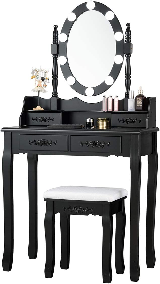 Giantex Vanity Table Set with 10 LED Lights, Makeup Dressing Table w/Lighted Oval Mirror and Touch Switch, Brightness Adjustable,4 Drawers Makeup Dressing Desk w/Cushioned Stool Set (Black)