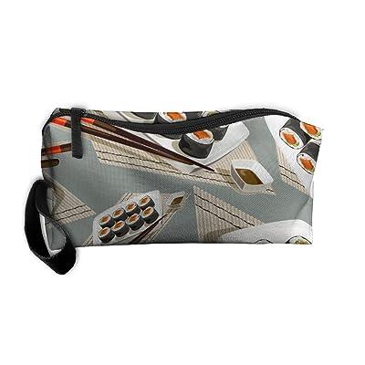 DFGGH Roll Sushi Unisex Cosmetic Bags Makeup Travel Zipper Storage Bags