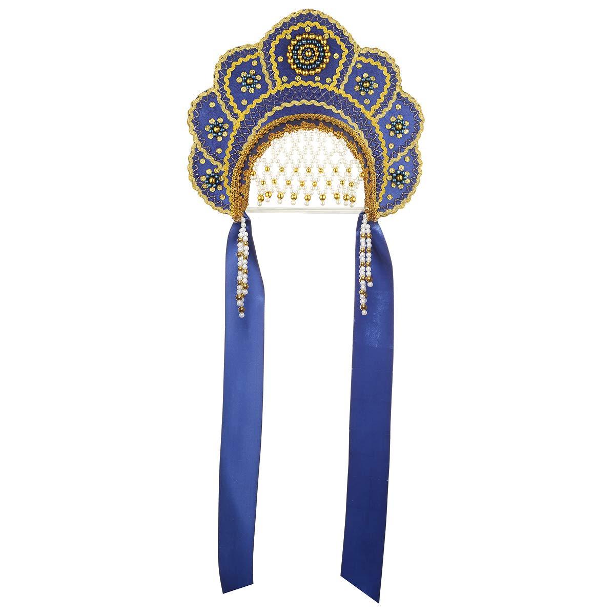 Russian Traditional Folk Costume Headdress Kokoshnik''Elena'' Blue #291 by danila-souvenirs