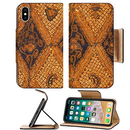 Foliage Batik - MSD Premium Apple iPhone X Flip Pu Leather Wallet Case IMAGE ID: 8963866 Batik design