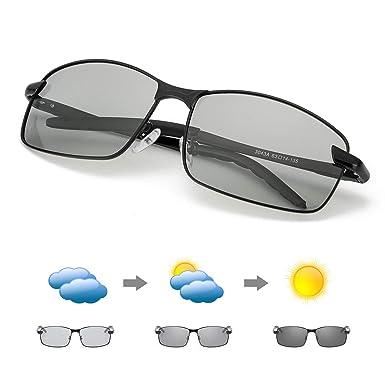 MuJaJa Gafas De Sol Polarizadas Fotocromáticas Para Hombre Bastidor Metal Ultraligero para Deportes -100% UVA/UVB Protection