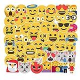 50pcs Premium Smiling Face Emoji Stickers Decals Vinyls | Pack of The Cool Sticker | Perfect to Graffiti Your Laptop, Skateboard, Luggage, Car, Bumper, Bike, Hard Hat (Emoji)