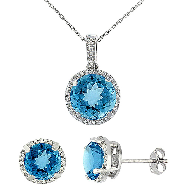 New 10k White Gold Natural Round Swiss Blue Topaz Earrings & Pendant Set  Diamond Accents