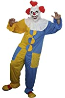 Elle Scary Clown Bleu & Jaune Fancy Dress Costume Halloween No Masque inclus