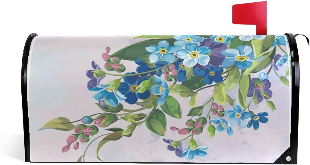 Auskid Vintage Forget-Me-Not Flowers Mailbox Covers Magnetic Post Box Cover Garden Home Decor Standard Size 20.7 X 18 Inch