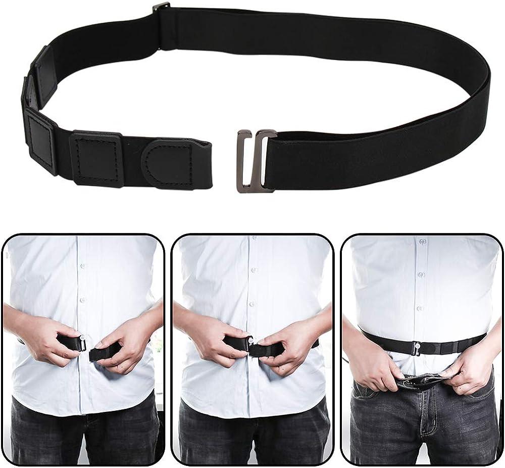 Milylove Mens Shirt Stay Black Tuck It Belt Non-slip Wrinkle Bandage Super Belt for Formal and Professional Attire: Clothing
