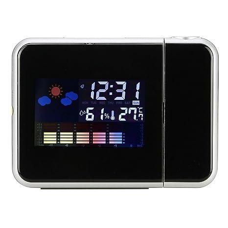 Buyincoins - Reloj despertador digital (con indicador de tiempo meteorológico, multifunción)