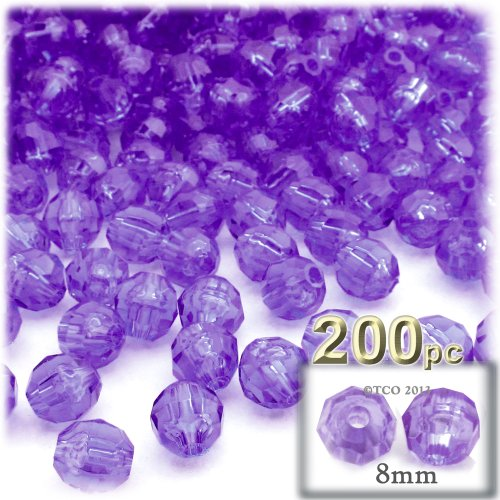 The Crafts Outlet 200-Piece Faceted Plastic Transparent Round Beads, 8mm, Dark -