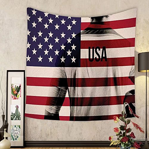 Gzhihine Custom tapestry Sports Decor Tapestry Composite Double Exposure Image of A Soccer Player and American Flag National Usa Run for Bedroom Living Room Dorm 60 W X 40 L Beige Blue and Red by Gzhihine