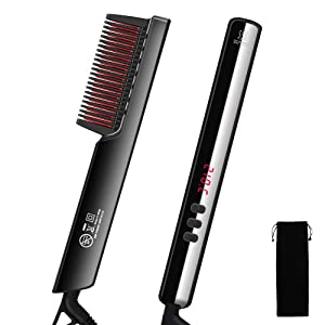 Hair Straightener Brush with 6 Heat Levels, Ceramic Ionic Hair Straightening Comb Electrical Hot Comb Anti-Scald, 30s Fast Heat Up, Auto-Off Function, Hair Straightening Styler for Women