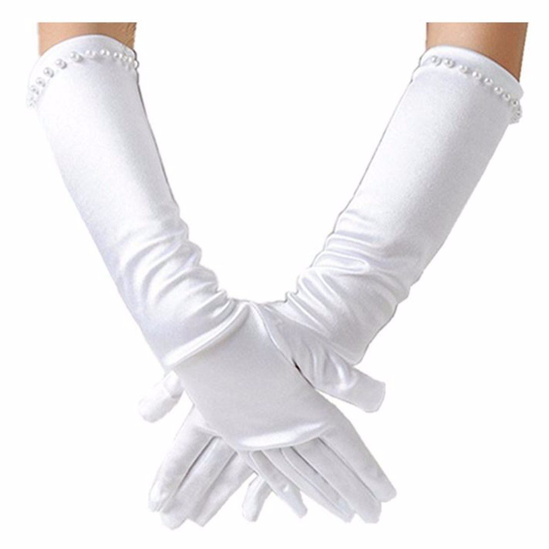 FEESHOW Flower Girls Beading Satin Long Gloves Wedding Dress up White L (6-11 Years)