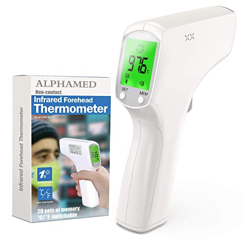 ALPHAMED Infrared for Adults Humans, Touchless Professional Temperature Device Digital Forehead Temporal Head Ear Led Oral Instant Read for Kids Baby Babies Basal Body, No Touch Contact