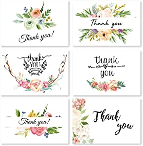Thank You Cards 36 Pack Floral Thank You Notes with Envelopes,Blank Greeting Cards Bulk Set -Designed For Graduation