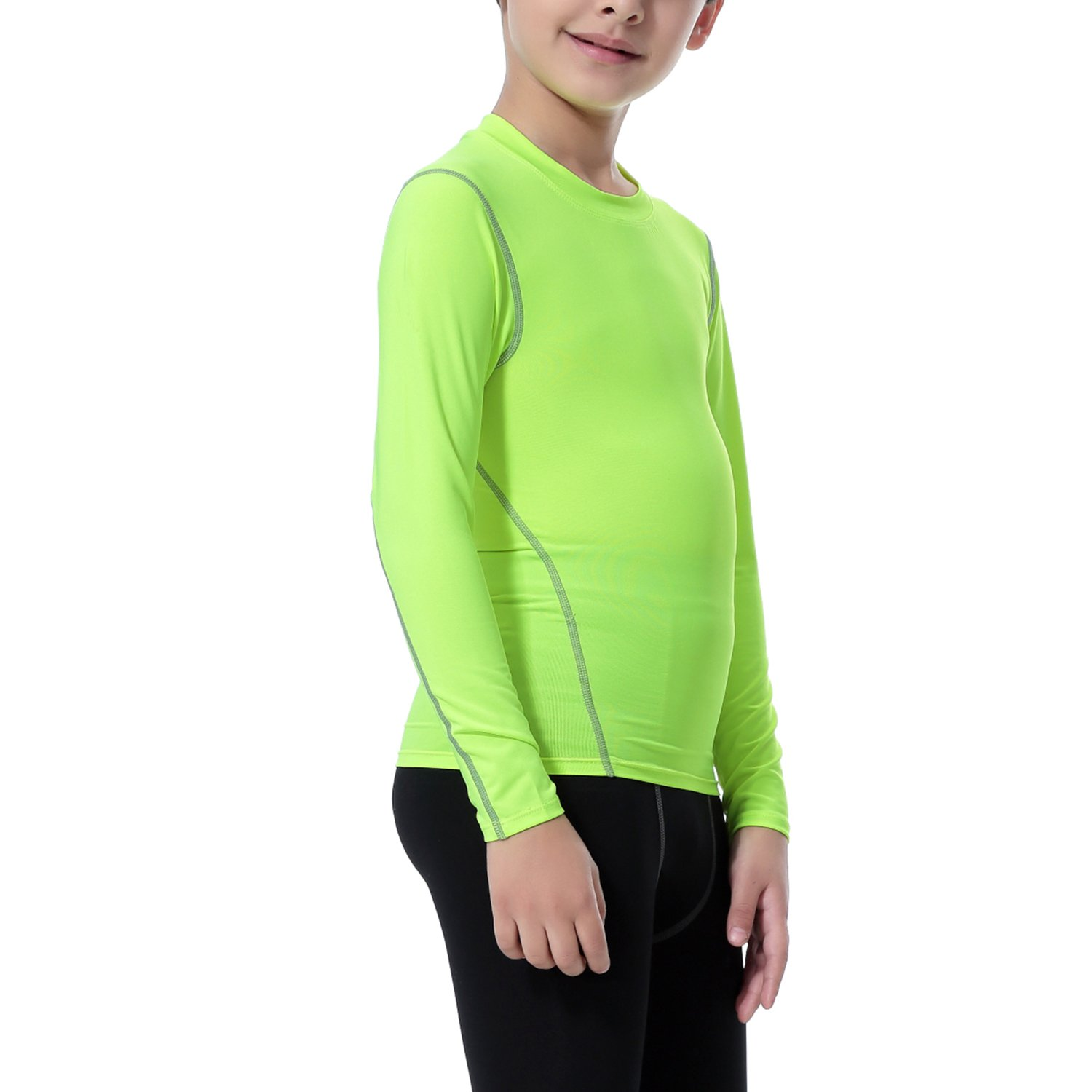 LNJLVI Boys Grils Compression Long Sleeve Shirts Skin Quick Dry Base Layer Tops Tee Pack of 3 Pcs