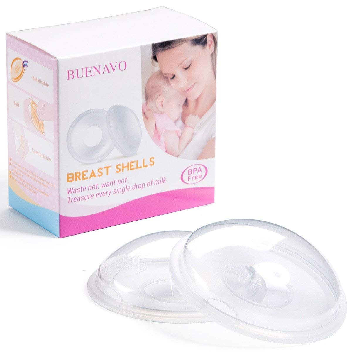 2018 UPGRADED Breast Shells for Breastfeeding Silicone Suction Breast Milk Saver Nursing Cups for Nursing Moms to Ease Nipple Pain, BPA-Free Washable and Reusable (Pack of 2) BUENAVO JMBS01