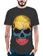 MEIbax Camisetas para Hombre de algodón de Manga Corta con Personalidad Calavera Pintada Impresión Estampado con Cuello Redondo Causal Talla Grande Oversize Camisa Blusa riou Tops Deportiva T-Shirt