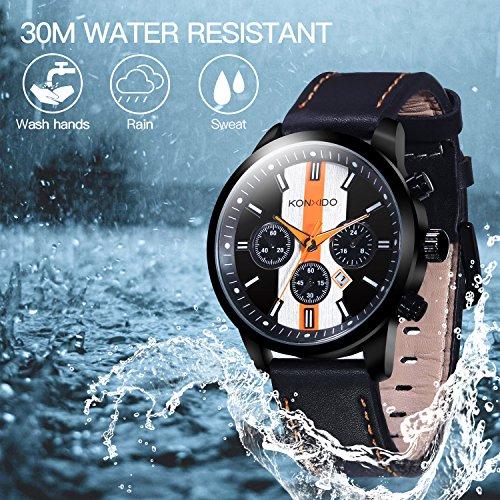 KONXIDO Mens Sports Watches Military Waterproof Big Face Analog Leather Band Wrist Watch Orange by KONXIDO (Image #5)