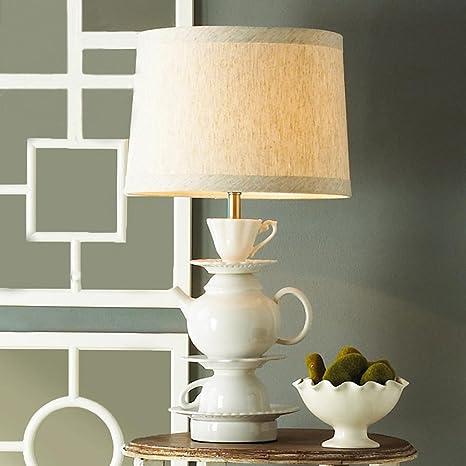 Amazon.com: Lámpara de mesa blanco tetera taza plato lámpara ...