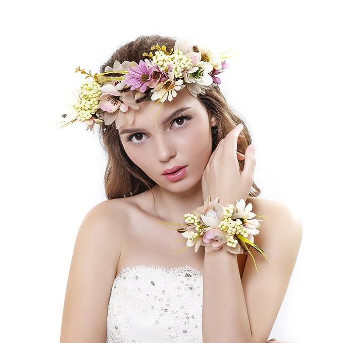 Ever Fairy® Frauen Mädchen Blumen Kranz Krone Haarband Girlande Floral Handgelenk Band Set für Hochzeit
