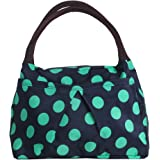 ZXKE Dots Print Style Women Handbags Lunch Bag Tote (Green dots blue)