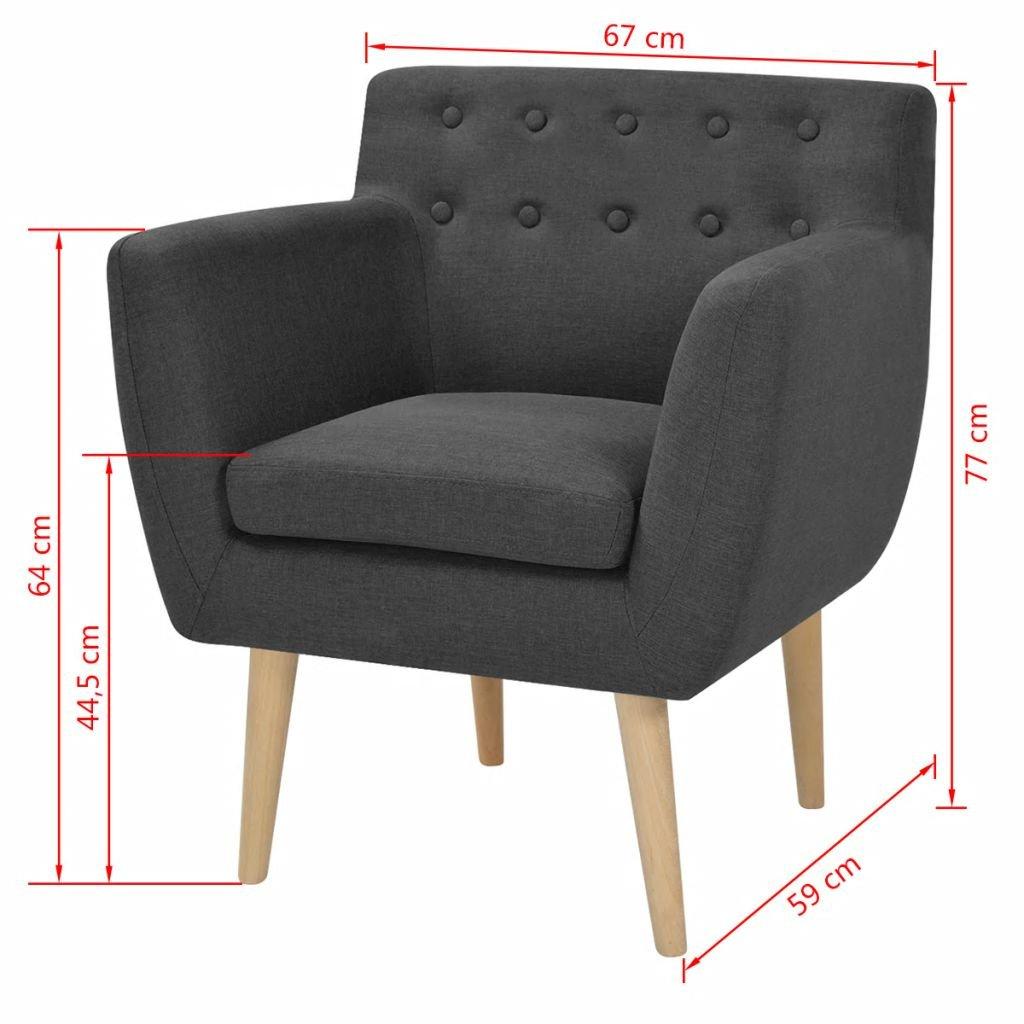 Vislone Sillón Butaca de Diseño Conciso y Moderno Tela Gris Oscuro 67x59x77cm